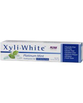 Now Foods Xyli-White Gel-Zahnpasta mit Backpulver fluoridfrei Platinum Mint 181 g