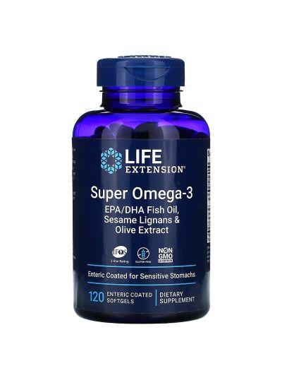 Life Extension Super Omega-3 m Sesamlignan+Olivenext.120 enteric coated softgels