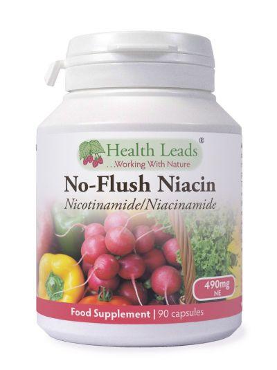 Health Leads No-Flush Niacin Vitamin B3 (Nikotinamid / Niacinamid) 490 mg x 90 Kapseln