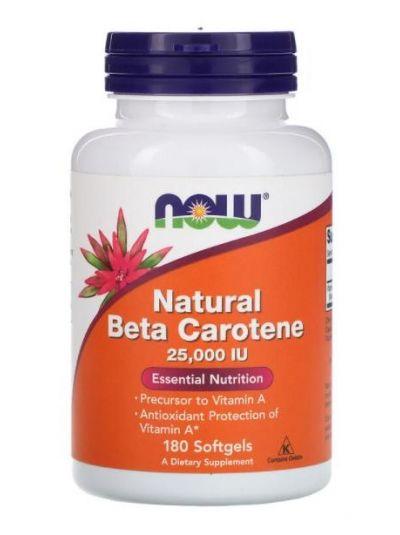 Now Foods, Vitamin A (als natürliches Beta Karotin), 25,000 IU, 180 Softgel Kapseln