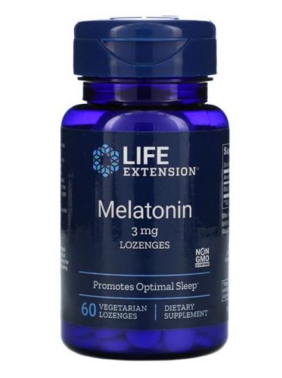 Life Extension Melatonin, 3 mg, Lozenges Lutchtabletten 60 Vegetarian