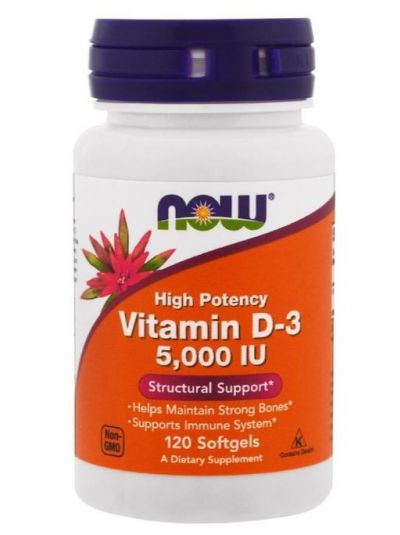 Now Foods  Vitamin D3 Hochwirksam 5.000 IU 120 Softgelkapseln