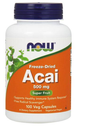 Now Foods Acai Gefriergetrocknet (Bio), 500 mg, 100 Kapseln