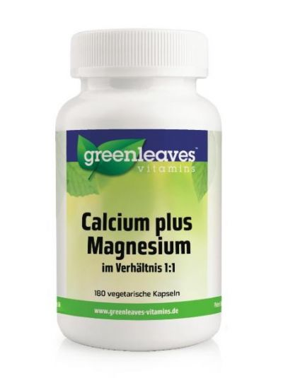 Green Leaves Calcium plus Magnesium Verhältnis 1:1 180 Kaps