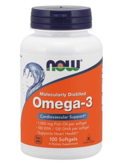 Now Foods, Omega-3, molekular destilliert, 100 Softgel-Kapseln