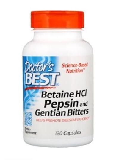 Doctor's Best Betain HCL Pepsin und Gentian Magenbitter 120 Kapseln