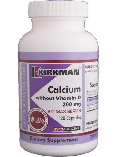 Kirkman Labs Kalzium 200 mg ohne Vitamin D 120 Kapseln - HYPOALLERGEN