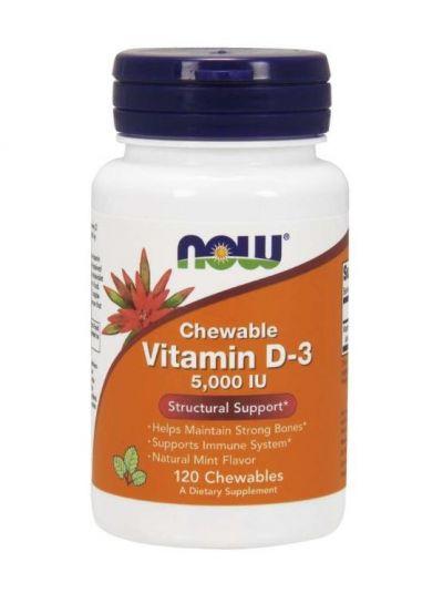 Now Foods Vitamin D3 Hochwirksam 5.000 IE Kautabletten 120 Softgelkapseln