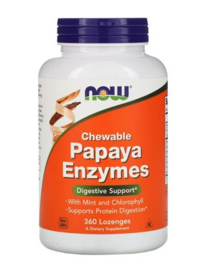 NOW FOODS PAPAYA-ENZYME ZUM KAUEN 360 PASTILLEN