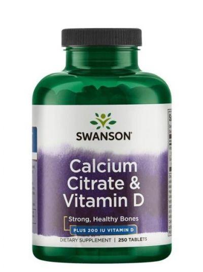 Swanson Calcium Citrate und Vitamin D 200IU 250 Tabletten