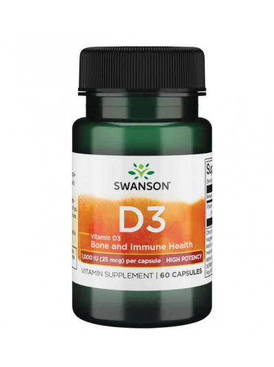 Swanson Premium Vitamin D3 Hochwirksame 1000IU 60 Kapseln