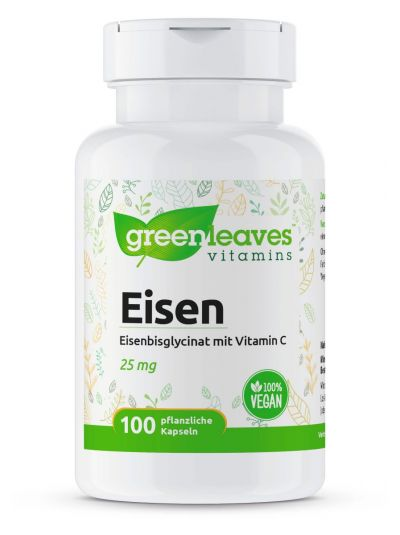 Green Leaves Eisenbisglycinat 25 mg mit Vitamin C 100 Kapseln