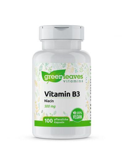 Green leaves VITAMIN B3 NIACIN 500 MG 100 Kapseln