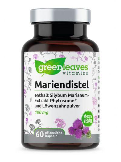 Green Leaves Mariendistel mit Silybum Marianum-Extrakt Phytosome ® und Löwenzahnwurzelpulver 60 Kapseln