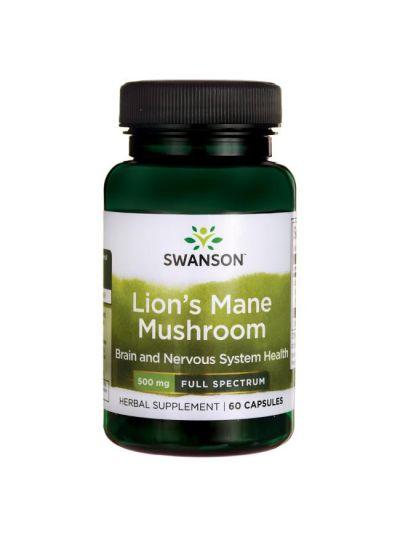 Swanson Vollspektrum Lion's Mane Mushroom (Löwenmähnen Pilz) 500 mg 60 Kapseln