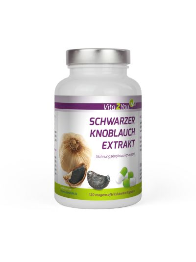 Vita2You Schwarzer Knoblauch Extrakt 500mg 10:1 (Extrakt - entspricht 5000mg) 120 Kapseln