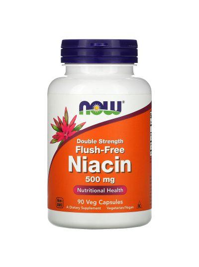 Now Foods Spülfreies Niacin doppelte Stärke, 500 mg, 90 Veg Kapseln