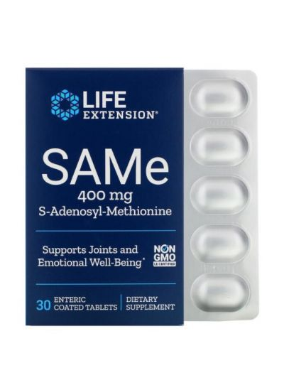 Life Extension SAME S-Adenosyl-Methionin, 400 mg, 30 magensaftresistente Tabletten