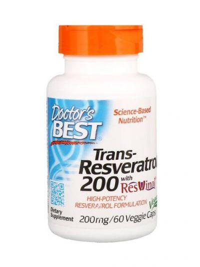 Doctor's Best Trans-Resveratrol 200 mit Resvinol 200 mg 60 pflanzliche Kapseln