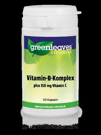 Green Leaves Vitamins Vitamin B-Komplex + 150 mg Vitamin C 50 Kapseln