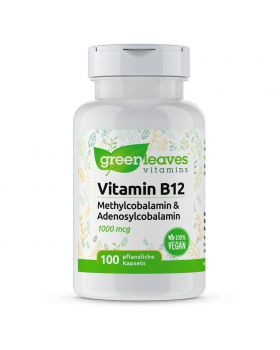Green Leaves Vitamin B12 1000 mcg mit Methylcobalamin und Adenosylcobalamin 100 Kapseln