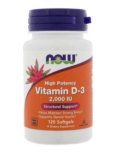 Now Foods Hochwirksames Vitamin D-3 2.000 UI 120 Gelkapseln