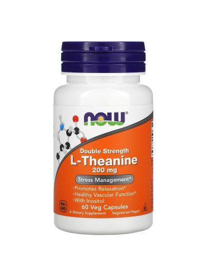 Now Foods L-Theanin doppelte Stärke, 200 mg, 60 Vegetabilische Kapseln