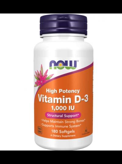 Now Foods, Vitamin D-3, Hochwirksam, 1000 IU, 180 Softgel Kapseln