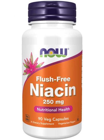 Now Foods Spülfreies Niacin 250 mg, 90Veg Kapseln