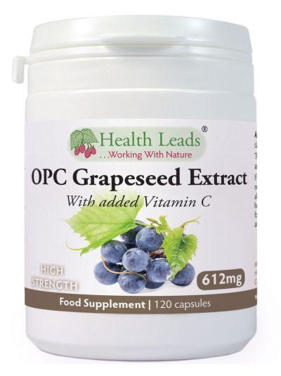 Health Leads OPC Traubenkernextrakt 600mg HOCH DOSIERT + Vitamin C 120 Kapseln