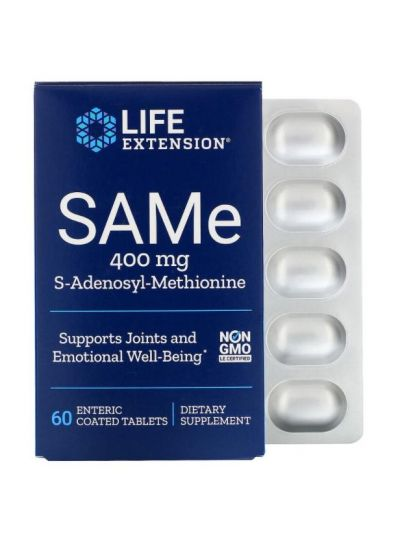 Life Extension SAMe S-Adenosyl-Methionin, 400 mg, 60 magensaftresistente Tabletten