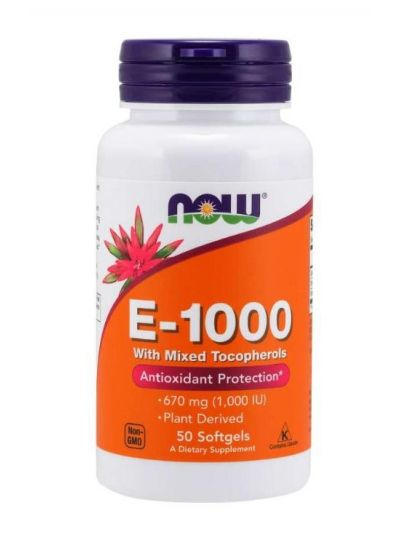 NOW FOODS VITAMIN E-1000 IE GEMISCHTE TOCOPHEROLE 50 SOFTGELS