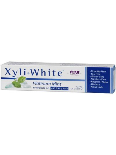 Now Foods XyliWhite Gel-Zahnpasta mit Backpulver fluoridfrei Platinum Mint 181 g