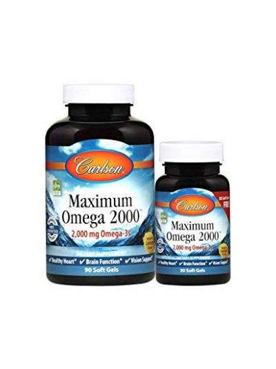 Carlson Labs Maximum Omega 2000 Natürliches Zitronenaroma, 2.000 mg, 120 Weichkapseln