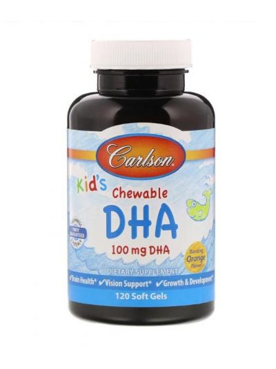 Carlson Labs Kaubares DHA für Kinder kräftiger Orangengeschmack, 120 Softgels