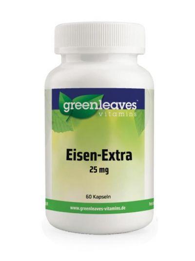 Green Leaves EISEN-EXTRA 25mg, 2 Quellen Eisen, Vit. C und Spinatpulver-Extrakt 60 Kaps