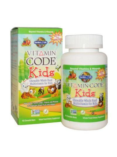 Garden of Life Vitamin Code Kids Vollwert-Multivitaminpräparat zum Kauen für Kinder, Kirsche-Beere, 60 Gummibären
