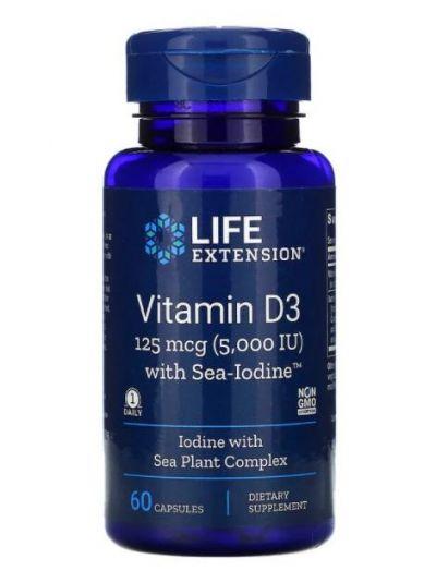 Life Extension, Vitamin D3 mit Meer-Jod, 125 mcg (5,000 IU), 60 Kapseln