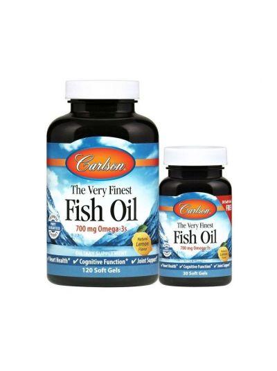 Carlson Labs Das allerfeinste Fischöl Natürlicher Zitronengeschmack, 120 + 30 gratis Weichgelkapseln