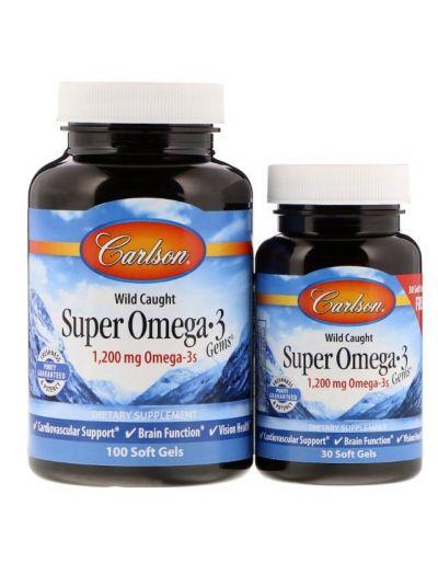 Carlson Labs Super Omega-3, Wild gefangen, 1.200 mg, 100 + 30 Weichgelkapseln