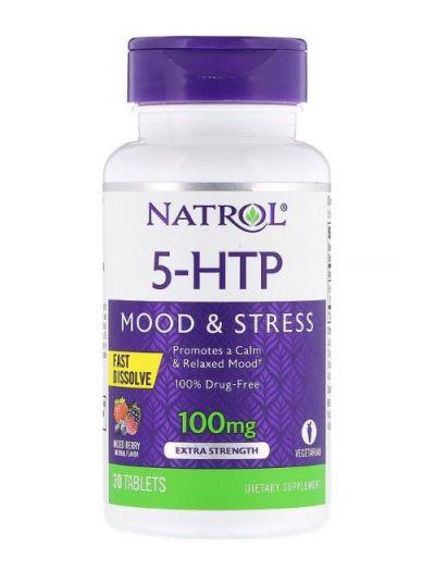 Natrol, 5-HTP, Fast Dissolve (Schnell Löslich), Extra-Stark, Geschmack Wilder Beeren, 100 mg, 30 Tabletten