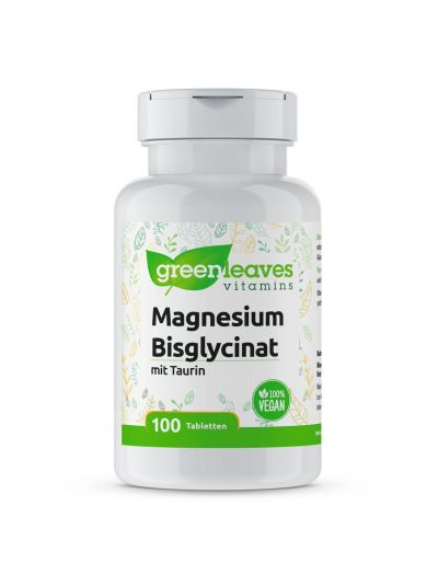 Green Leaves MAGNESIUM BISGLYCINAT 100 MG + Taurin 200 mg 100 Tabletten
