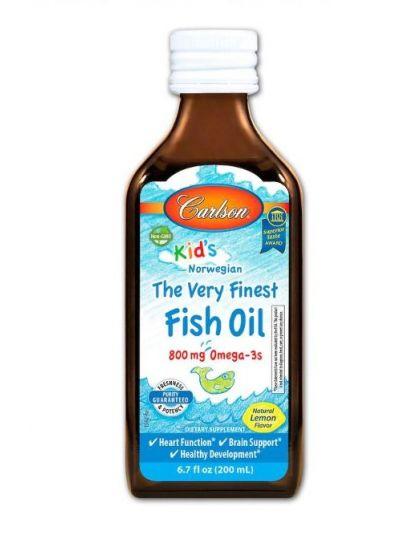 Carlson Labs Für Kinder Norwegischer Fischöl, Das beste Fischöl, Natürlicher Zitronengeschmack 200 ml
