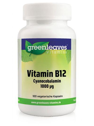 Green Leaves Vitamins B12 Vitamin Cyanocobalamin 1000 mcg 100 Kaps