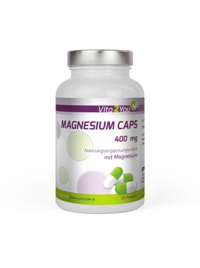 Vita2You Magnesium 400mg reines Magnesium Premium Qualität 120 Kapseln