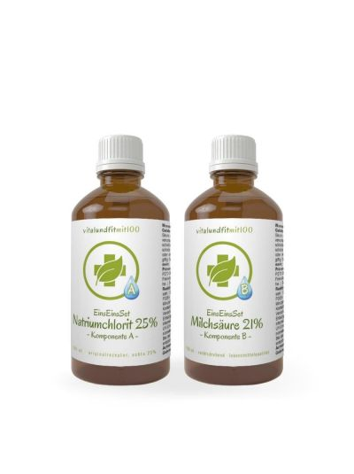 Vitalunditmit100 EinsEinsSet Natriumchlorit + Milchsäure (Bestseller) [100 ml Set] Braunglas