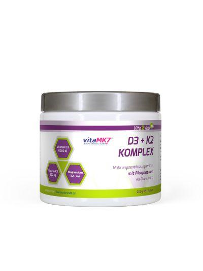 Vita2You Vitamin D3+K2 Komplex Pulver mit Magnesium -Premium Qualität 200g