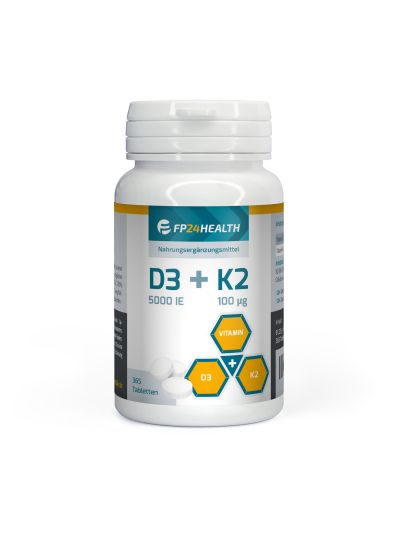 Vita2you Vitamin D3 (5000IU) +K2 (100μg) - Hochdosiert 365 Tabletten
