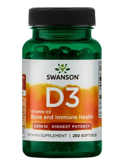 Swanson Premium Vitamin D3 Höchste Potenz 5000 IU 250 Softgels